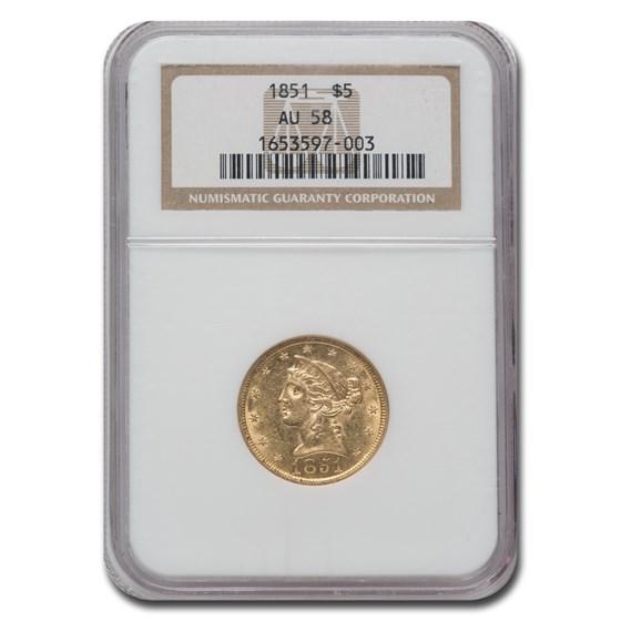 1851 $5 Liberty Gold Half Eagle AU-58 NGC