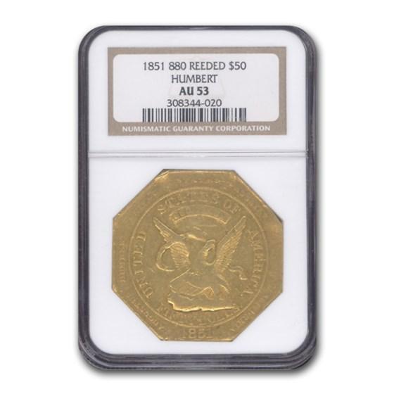 1851 $50 Humbert Gold Ingot U.S. Assay Office AU-53 NGC (Reeded)