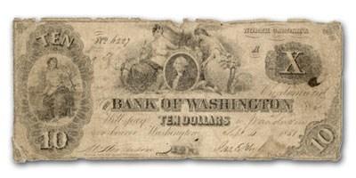 1851 Bank of Washington, NC $10 NC-85 Good