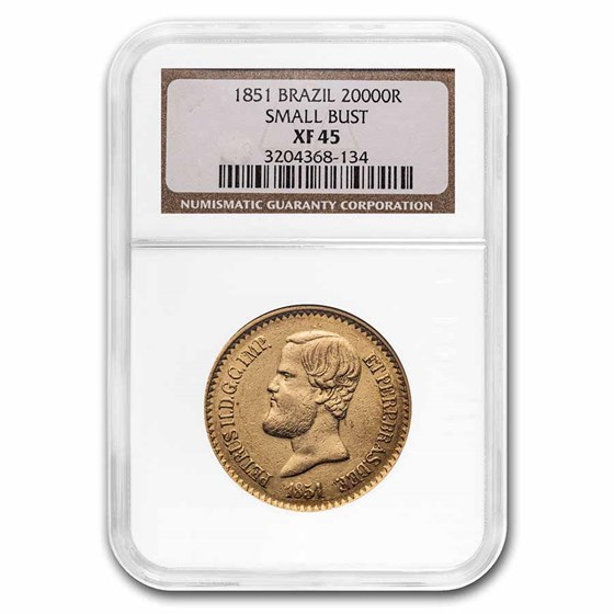 1851 Brazil Gold 20,000 Reis Pedro II XF-45 NGC