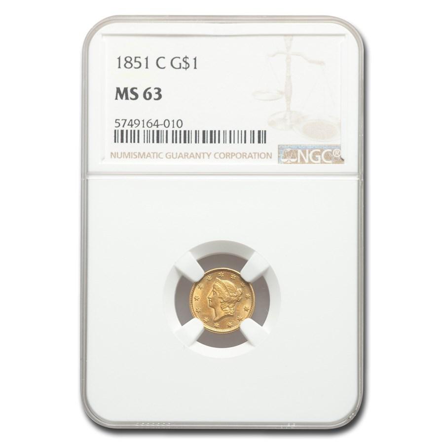 1851-C $1 Liberty Head Gold Type 1 MS-63 NGC