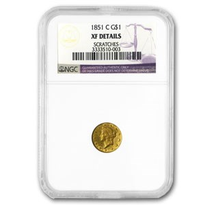 1851-C $1 Liberty Head Gold XF Details NGC (Scratched)