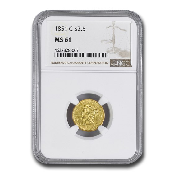 1851-C $2.50 Liberty Gold Quarter Eagle MS-61 NGC