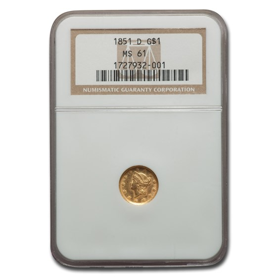 1851-D $1 Indian Head Gold MS-61 NGC