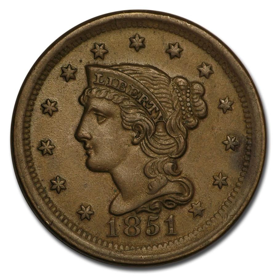 1851 Large Cent BU (Brown)