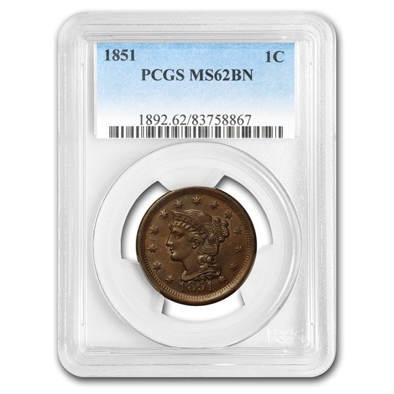 1851 Large Cent MS-62 PCGS (Brown)