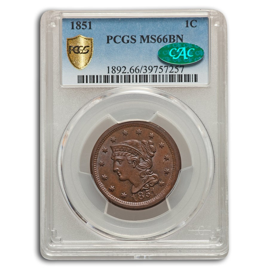 1851 Large Cent MS-66 PCGS CAC (Brown)