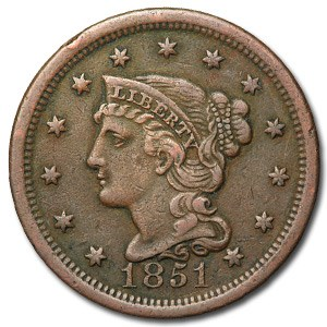 1851 Large Cent VF-35