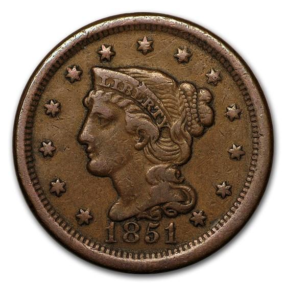 1851 Large Cent VF