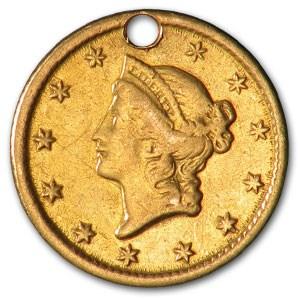 1851-O $1 Liberty Head Gold XF Details (Holed)