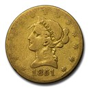 1851-O $10 Liberty Gold Eagle AG Details