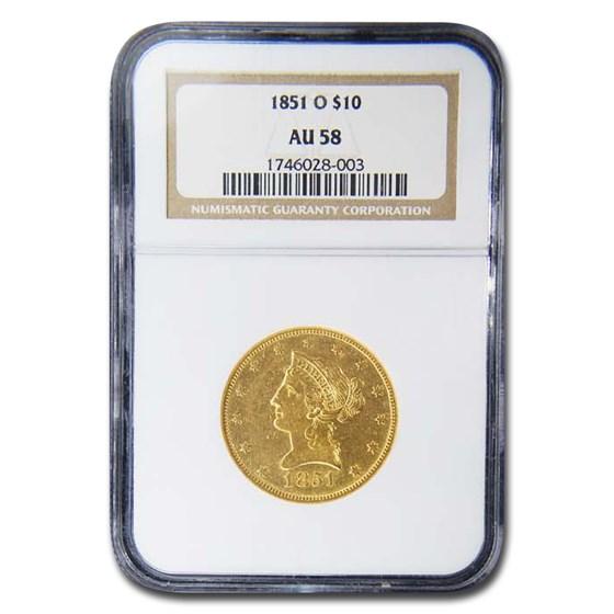 1851-O $10 Liberty Gold Eagle AU-58 NGC