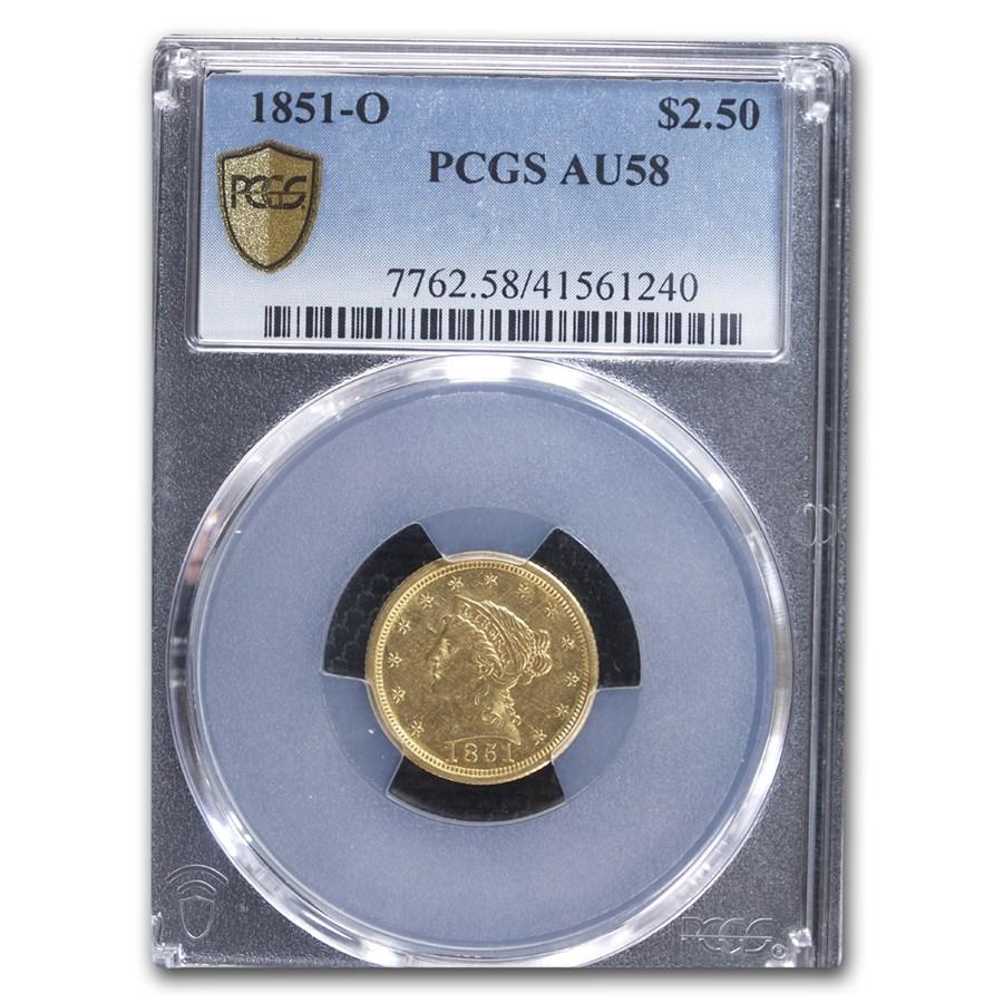 1851-O $2.50 Liberty Gold Quarter Eagle AU-58 PCGS