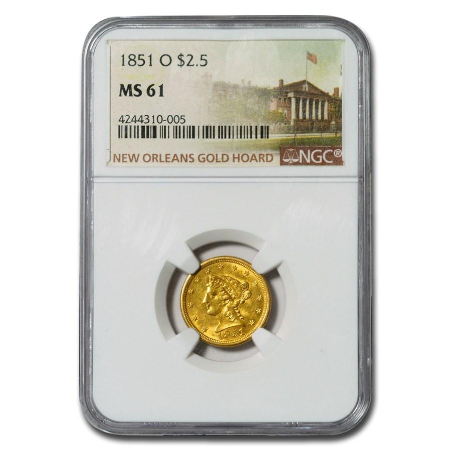 1851-O $2.50 Liberty Gold Quarter Eagle MS-61 NGC