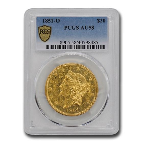 1851-O $20 Liberty Gold Double Eagle AU-58 PCGS