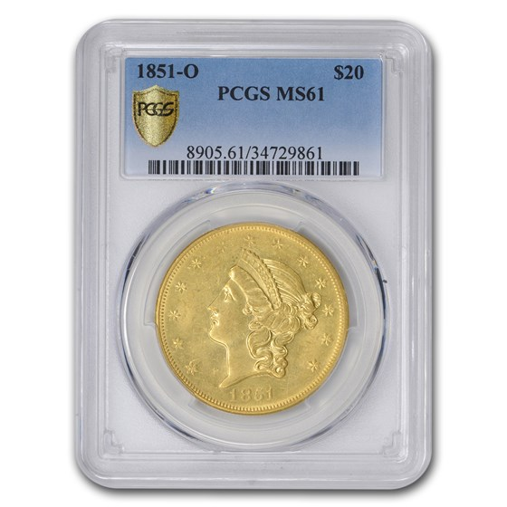 1851-O $20 Liberty Gold Double Eagle MS-61 PCGS