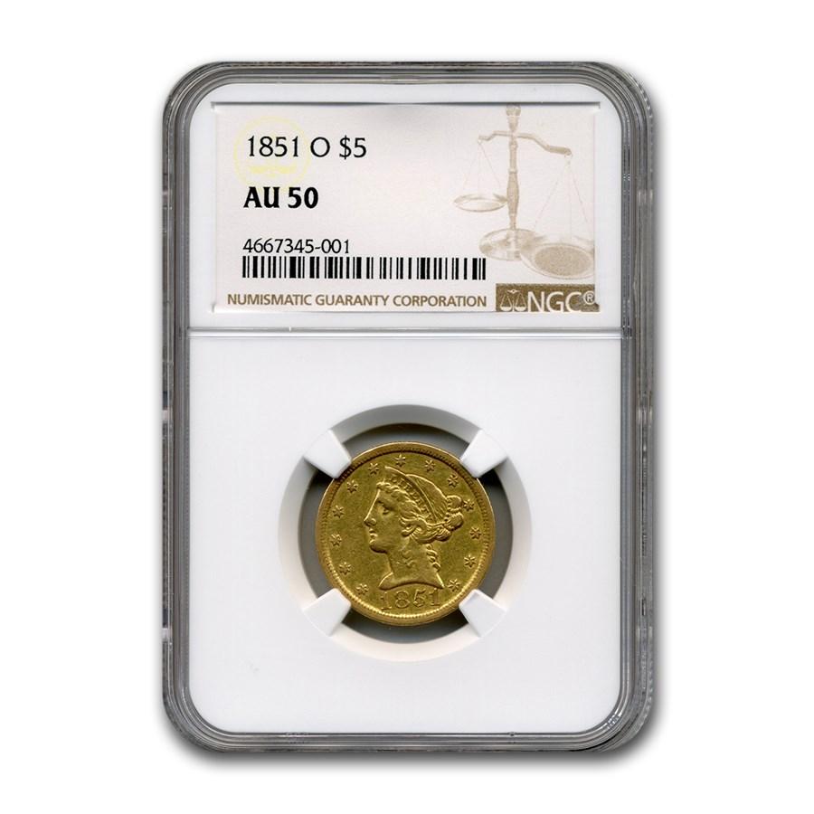 1851-O $5 Liberty Gold Half Eagle AU-50 NGC