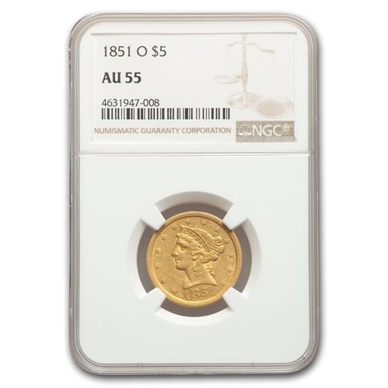 1851-O $5 Liberty Gold Half Eagle AU-55 NGC