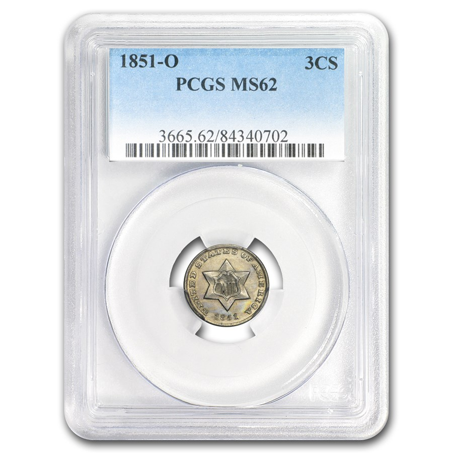 1851-O Three Cent Silver MS-62 PCGS