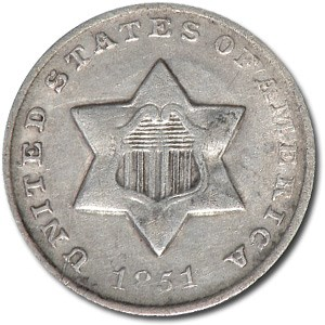 1851-O Three Cent Silver XF