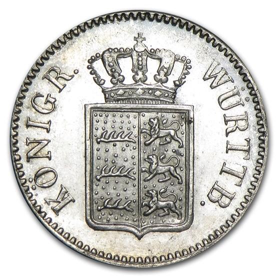 1851 Wurttemberg Silver 3 Kreuzer BU