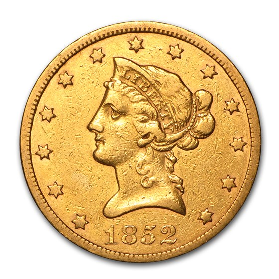 1852 $10 Liberty Gold Eagle VF