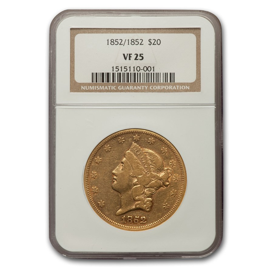 1852/1852 $20 Liberty Gold Double Eagle VF-25 NGC