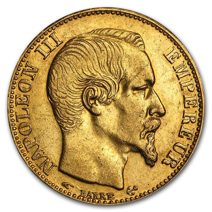 1852-1860 France Gold 20 Francs Napoleon III (AU)