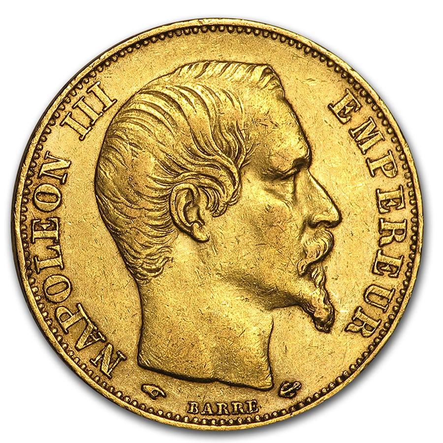 1852-1870 France Gold 20 Francs Napoleon III Avg Circ