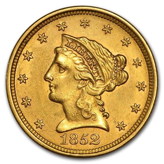 1852 $2.50 Liberty Gold Quarter Eagle AU