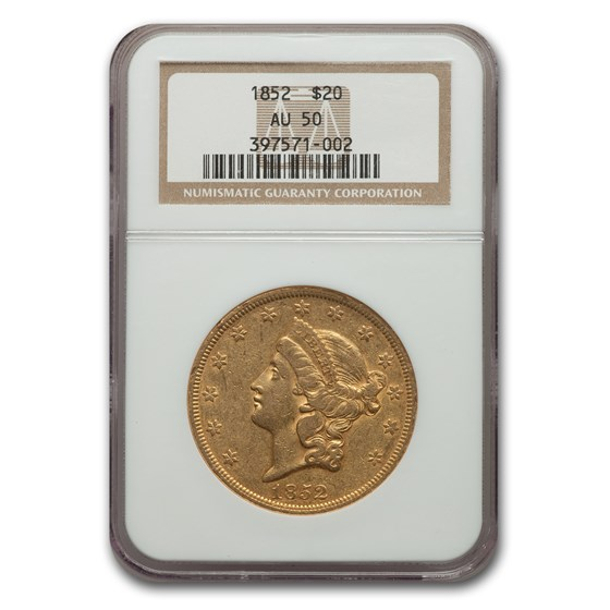 1852 $20 Liberty Gold Double Eagle AU-50 NGC