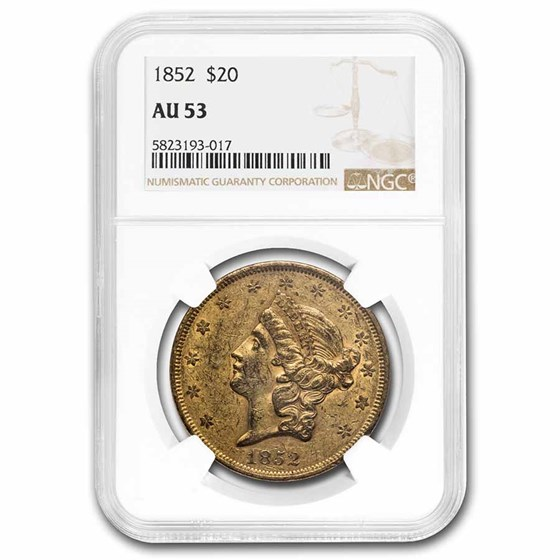 1852 $20 Liberty Gold Double Eagle AU-53 NGC