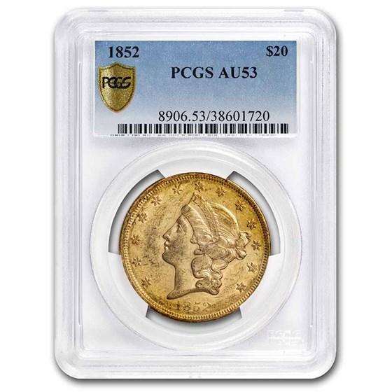 1852 $20 Liberty Gold Double Eagle AU-53 PCGS