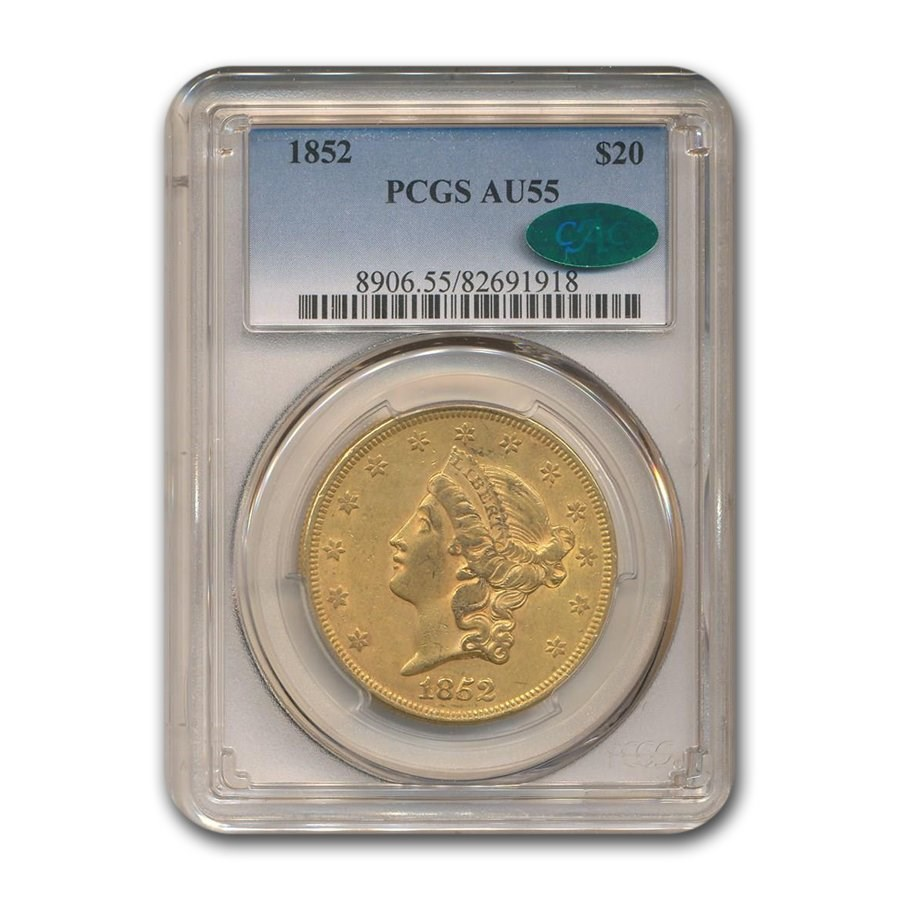 1852 $20 Liberty Gold Double Eagle AU-55 PCGS CAC
