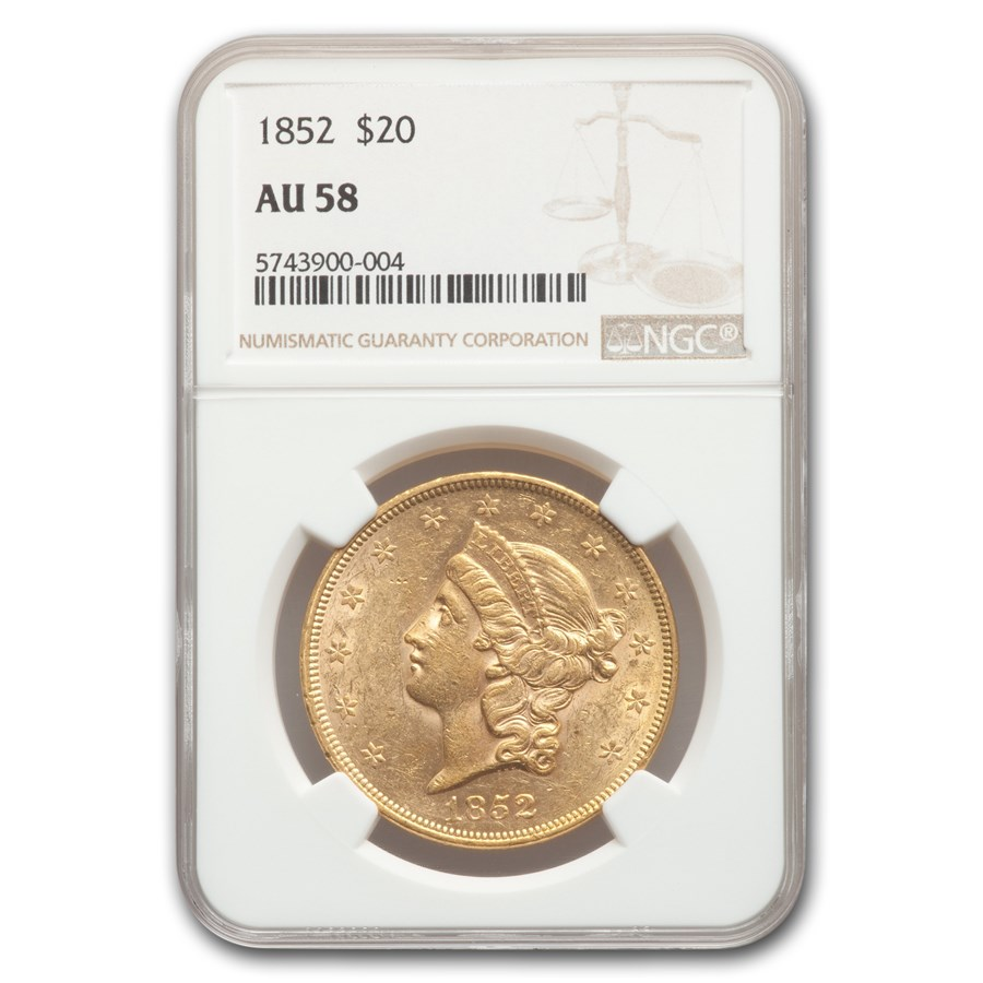 1852 $20 Liberty Gold Double Eagle AU-58 NGC