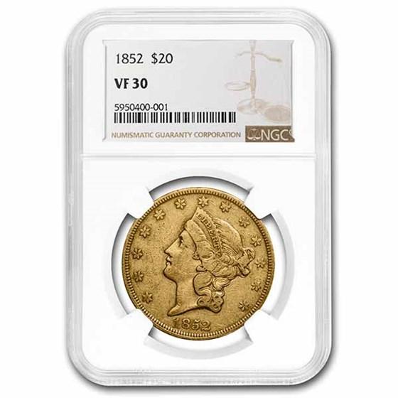 1852 $20 Liberty Gold Double Eagle VF-30 NGC