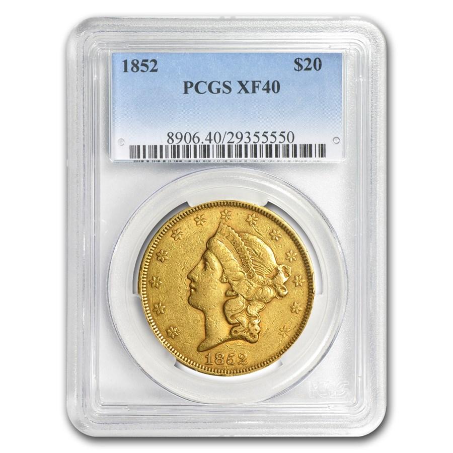 1852 $20 Liberty Gold Double Eagle XF-40 PCGS