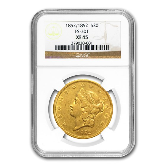 1852 $20 Liberty Gold Double Eagle XF-45 NGC (Repunched Date)