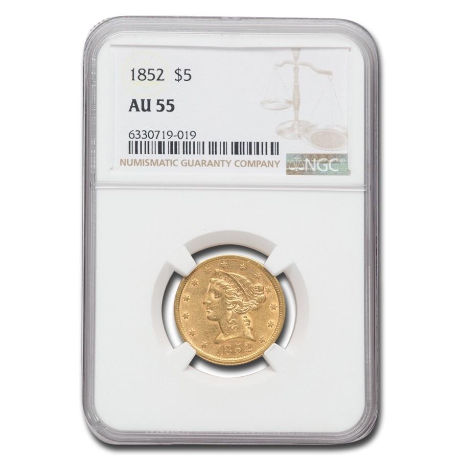 1852 $5 Liberty Gold Half Eagle AU-55 NGC