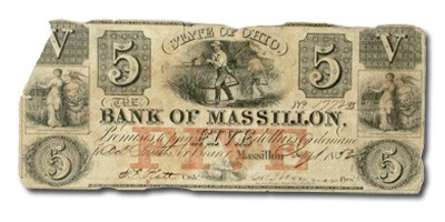 1852 Bank of Massillon, Ohio, $5 OH-285 VF