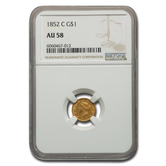 1852-C $1 Liberty Head Gold AU-58 NGC