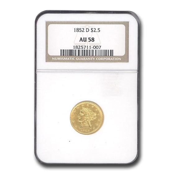 1852-D $2.50 Liberty Gold Quarter Eagle AU-58 NGC