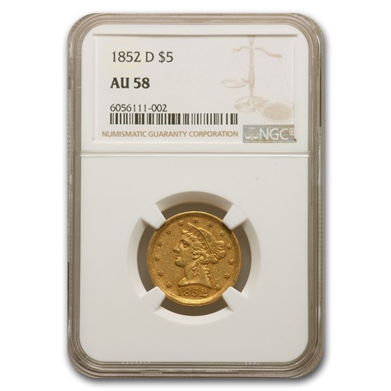 1852-D $5 Liberty Gold Half Eagle AU-58 NGC