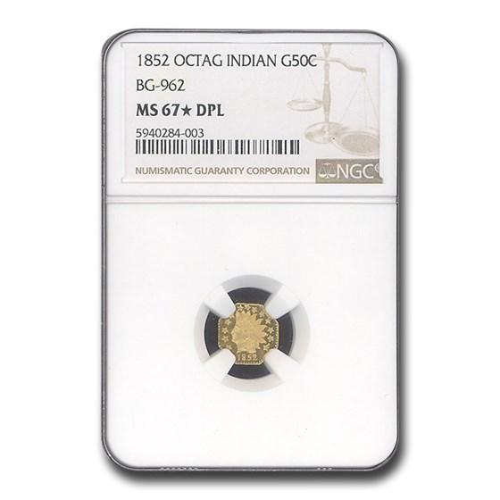 1852 Indian Octagonal 50 Cent Gold MS-67* NGC (DPL, BG-962)