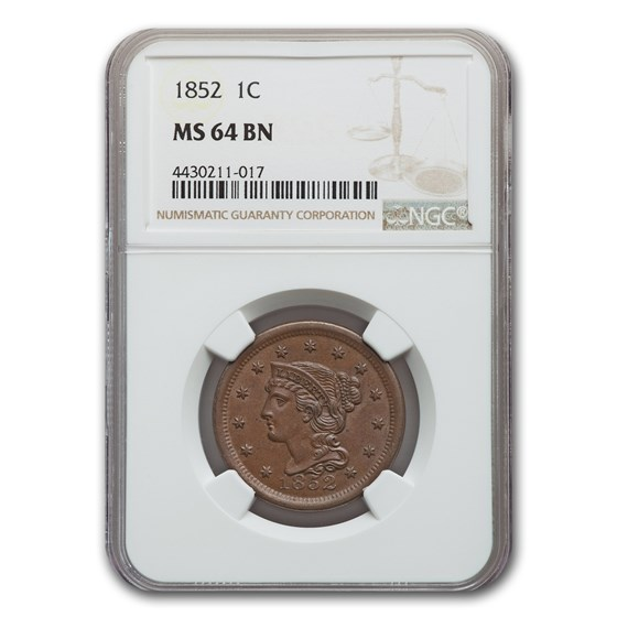 1852 Large Cent MS-64 NGC (Brown)