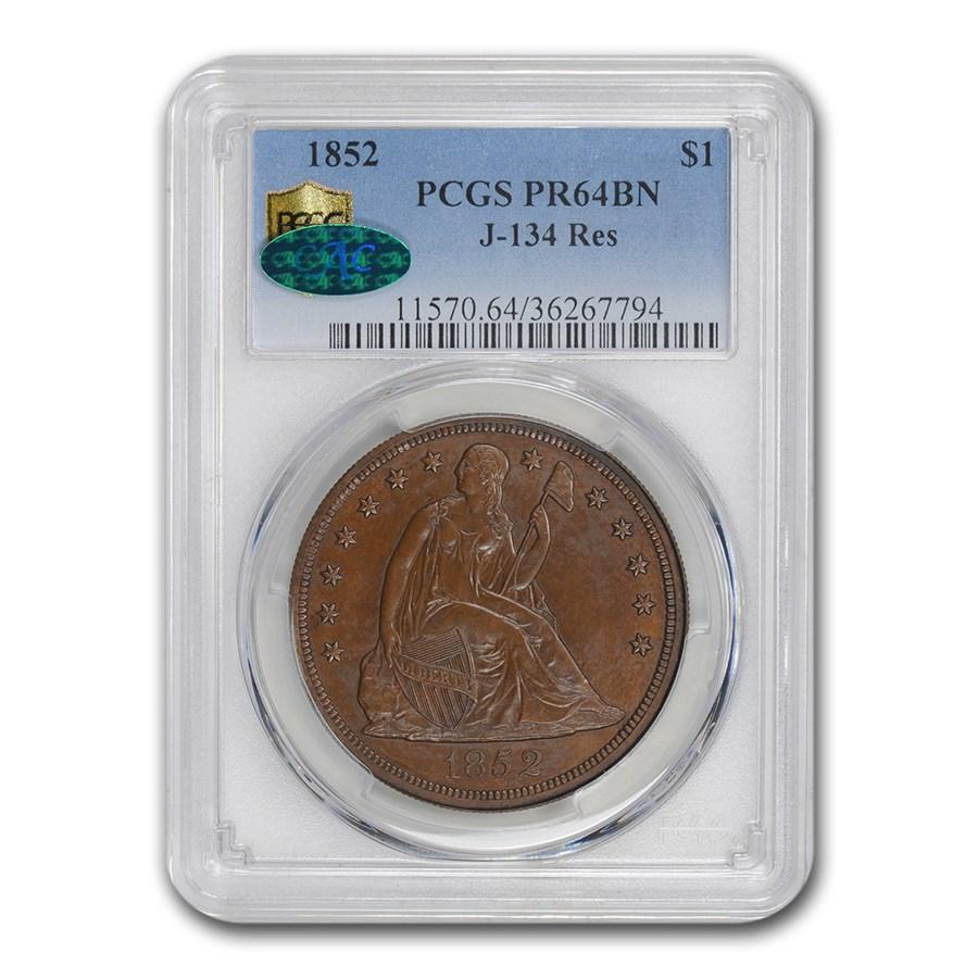 1852 Liberty Seated Dollar Pattern PR-64 BN PCGS CAC (J-134 Res.)