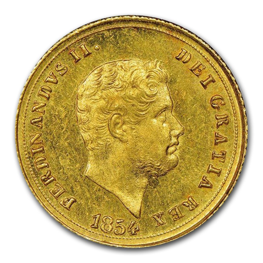 1852 Naples Gold 3 Ducati Ferdinando II AU-55 NGC