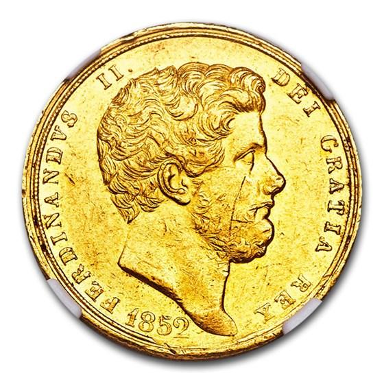 1852 Naples Gold 6 Ducati Ferdinando II AU-55 NGC