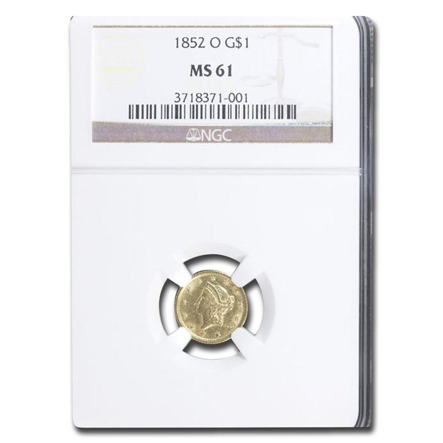 1852-O $1 Liberty Head Gold MS-61 NGC