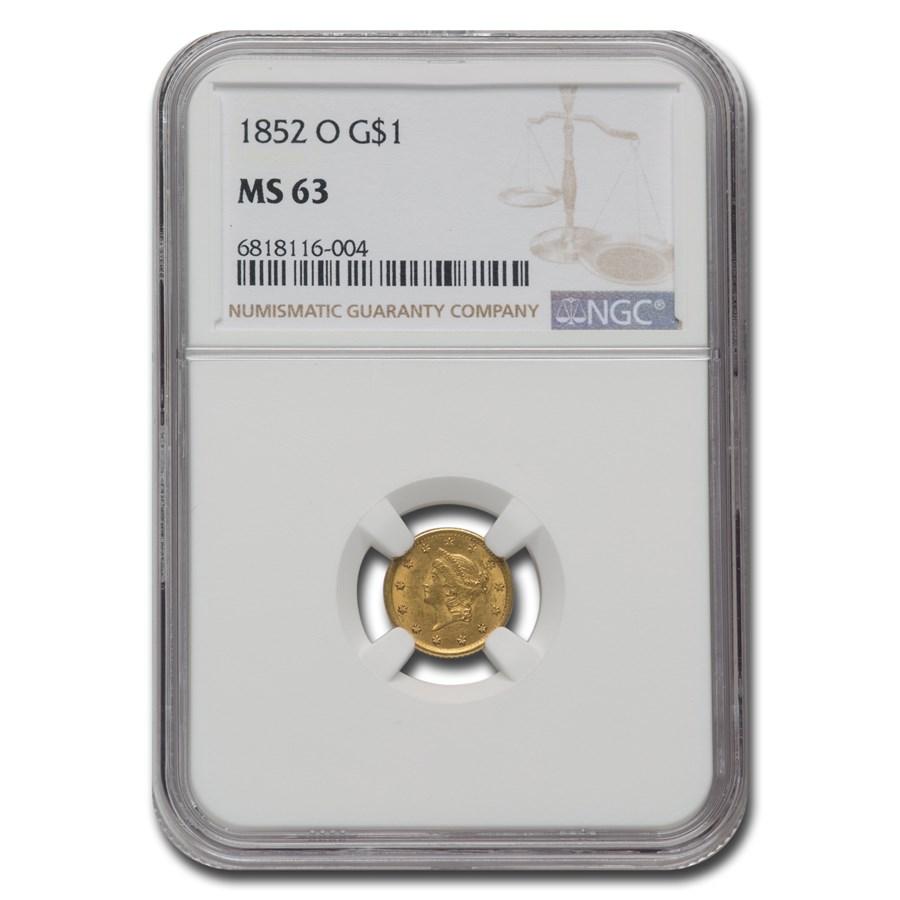1852-O $1 Liberty Head Gold MS-63 NGC